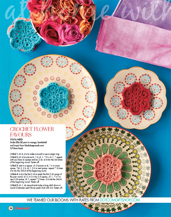 Crocher Flowers by Ella Johnston for Homemaker. Styling, Ella Johnston. Photography, Cliqq Photography