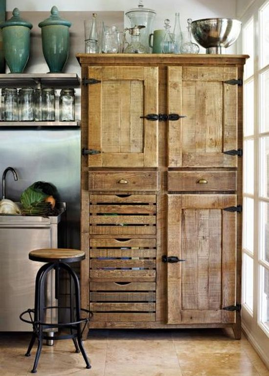 Reclaimed salvaged wood cupboard http://www.ellasplace.me