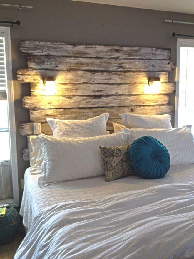 Recalimed wood headboard http://www.ellaspace.me